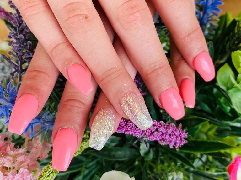 trendy-coffin-shape-with-bright-pink-colour-and-glitter-design-on-two-nails-191120-4